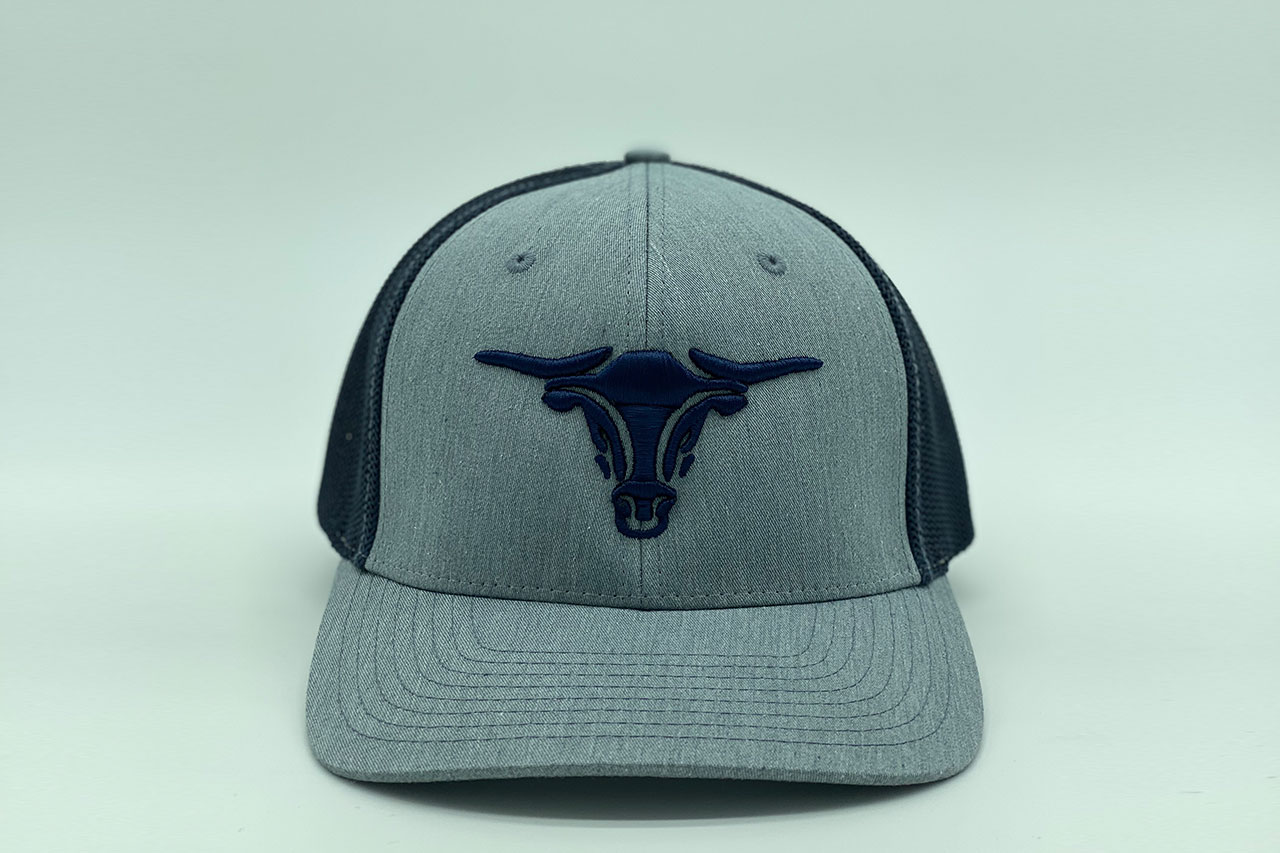 Gray hat with navy puff bullhead and navy mesh back
